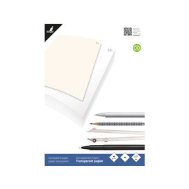 Tranparant papier Kangaro A4 blok a 24 vel met 1 vel milimeterpapier