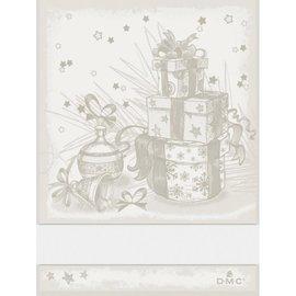 DMC Keukenhanddoek met geborduurde kerstcadeau - DMC - beige