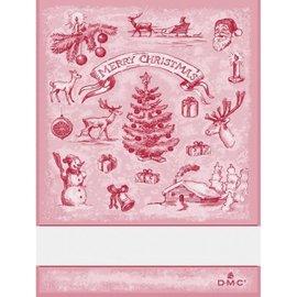 DMC Keukenhanddoek met geborduurd kerstlandschap  - DMC - rood