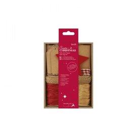 Kerstmis - Kit cadeau Labels - rood - tags, koord, lint