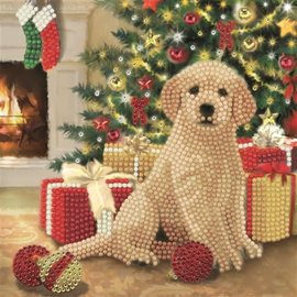 Diamond Painting Crystal Art Cards ® Puppy's First Christmas (Partial, 18x18)