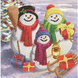 Diamond Painting Crystal Art Cards ® Snowman Family Fun (partial, 18x18 cm)