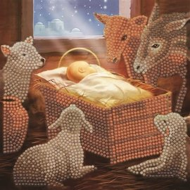 Crystal Art Cards ® Baby in a Manger (partial, 18x18 cm)