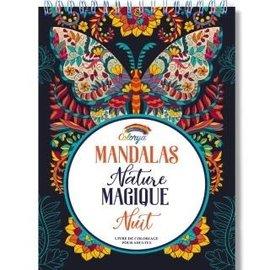 Kleurboek voor volwassenen 30 afb. Mandalas Nature Magique zwart