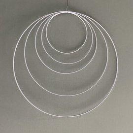Metalen dromenvanger ring 120cm - Wit