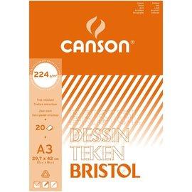 "Canson: Tekenblok ""Bristol"" A3 (297x420mm) 224g, 20 vel - Wit"