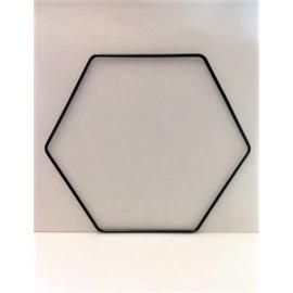 Metalen decoratie hexagon 35cm - 3mm ZWART