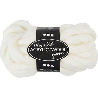 acrylic/wool, off-white, L: 15 m, size mega , 300 g