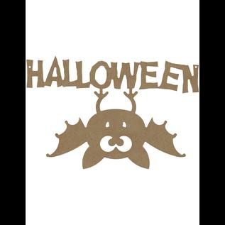 MDF Figuur Halloween Omgekeerde Vleermuis 38 cm