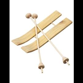 Ski met stokken, afm 11x3,8 cm, 3 paar, grenen