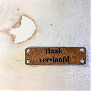 Bobbiny Kunstleer label  5×1,5 cm - Haakverslaafd -