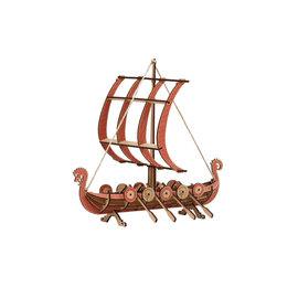 Bouwset Vikingsboot in hout 26x30cm