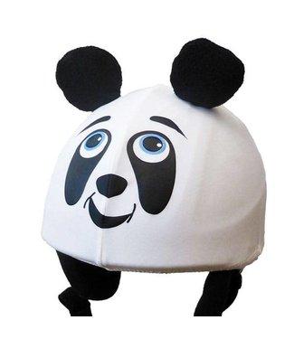 Sombrero de oso panda cubierta de casco de esquí.