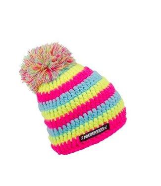Poederbaas Gehäkelte Babymütze - blau / pink / gelb