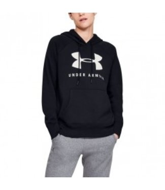 Under Armour RIVAL FLEECE SPORTSTYLE GRAPHIC HOODIE - Black // Onyx White
