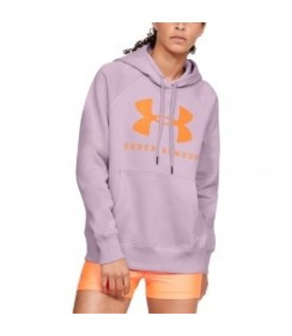 Under Armour RIVAL FLEECE SPORTSTYLE GRAPHIC HOODIE - Pink Fog / Peach Plasma / Peach Plasma