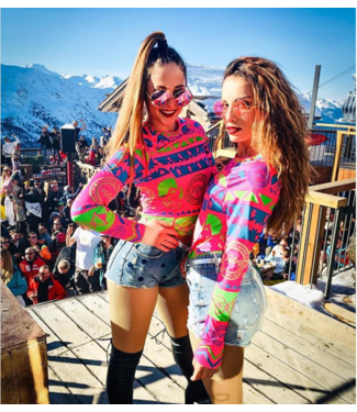 OOSC La Folie Douce Meribel Pink, Blue & Green Unisex Baselayer Set