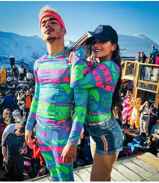 OOSC La Folie Douce Meribel Green & Blue Unisex Baselayer Set