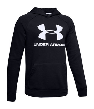 Under Armour Rival Logo Hoodie-Black / Black / White