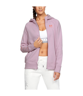 Under Armour RIVAL FLEECE SPORTSTYLE LC SLEEVE GRAPHIC FZ - Pink Fog