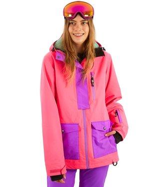 OOSC 1080 Dames ski- en snowboardjas - Fluo Roze / Paars