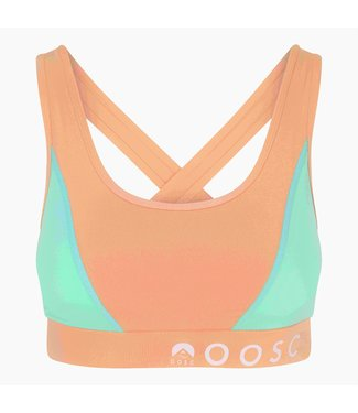 OOSC Pastel Peach Orange Medium Support Crossback Sports Bra