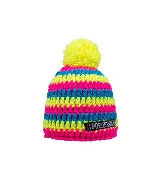 Poederbaas Ski hat Fluor - crocheted hat - Moraine