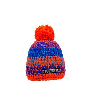 Poederbaas Kurze Mütze mit Bommel - orange/blau