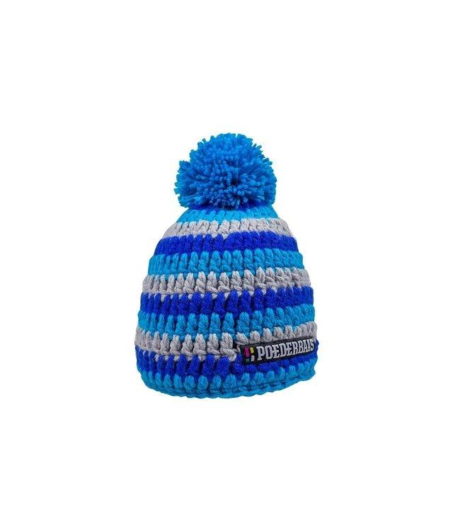 Poederbaas Kurze Mütze mit Bommel - grau/blau