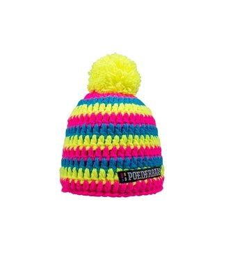 Poederbaas Kurze Mütze mit Bommel - gelb/blau/pink