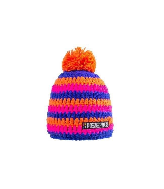 Poederbaas Bunter Hut mit Fleece - orange / pink / dunkelblau