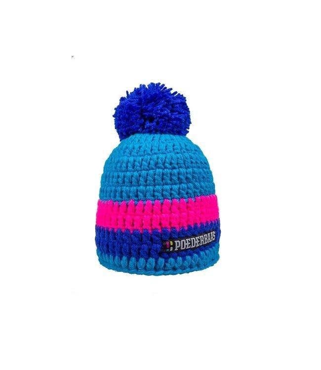Poederbaas Kurzer Hut mit Pompon - pink / dunkelblau