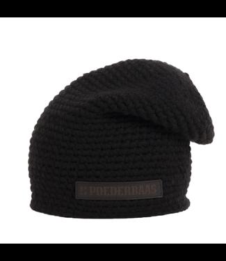 Poederbaas Crochet long hat with fleece - black