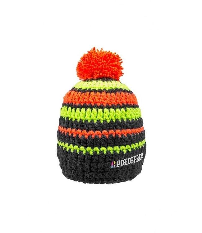 Poederbaas Kurzer Hut mit Pompon - schwarz / grün / orange