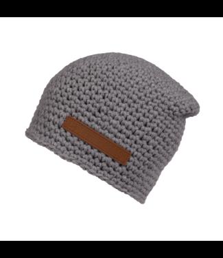 Poederbaas Crocheted hat with fleece - light gray