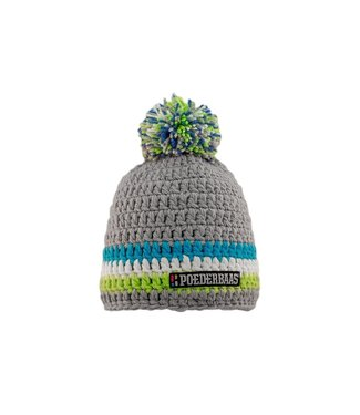 Poederbaas Gray crocheted hat - green / blue / white