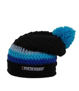Poederbaas Lange gekleurde muts - Zwart/blauw/grijs