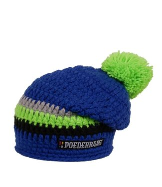 Poederbaas Long colored hat - Blue / lime green / gray / black