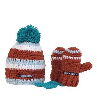 Poederbaas Bunte Babymütze mit Fäustlingen gehäkelt - braun / blau / weiß