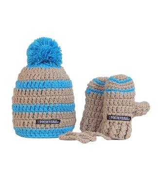 Poederbaas Baby wintermuts - beige/blauw
