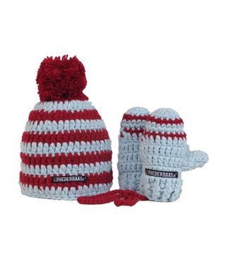 Poederbaas Colorful baby hat with mittens - red / white / blue