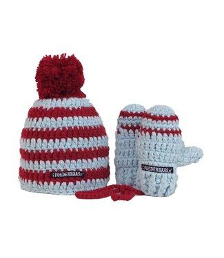 Poederbaas Kleurrijke babymuts met wantjes - rood/wit/blauw