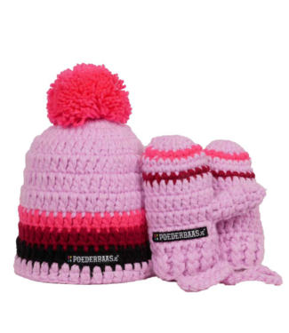Poederbaas Pink baby hat with gloves - pink / burgundy / black