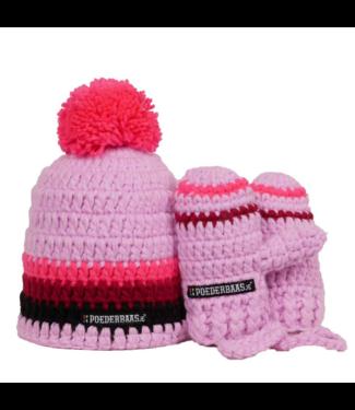 Poederbaas Roze babymuts met handschoentjes - roze/bordeauxrood/zwart