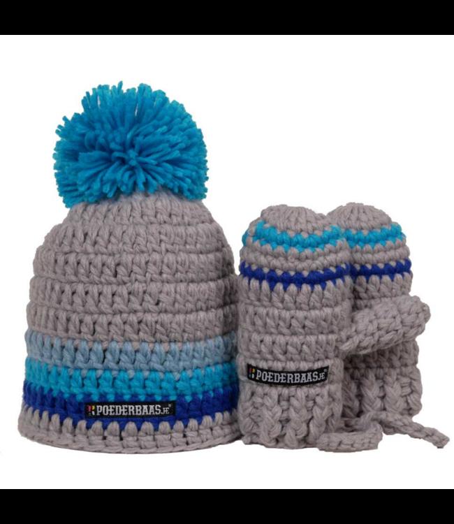 Poederbaas Blaue Babymütze mit Handschuhen - blau / grau
