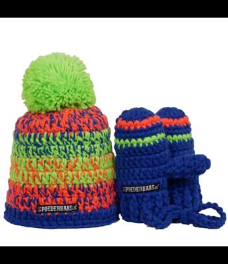 Poederbaas Kleurrijke babymuts met handschoentjes - limegroen/oranje/blauw