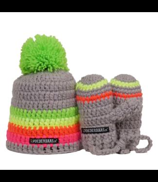 Poederbaas Kleurrijke babymuts met handschoentjes - grijs/groen/geel/roze