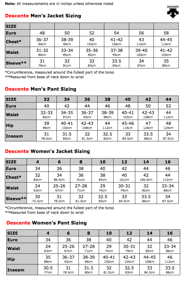 Size Chart Descente