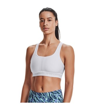 Under Armour UA Crossback Mid Bra-White / Halo Gray