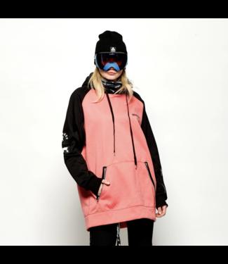 Oneskee Sudadera con capucha impermeable para mujer Rosa / Negro